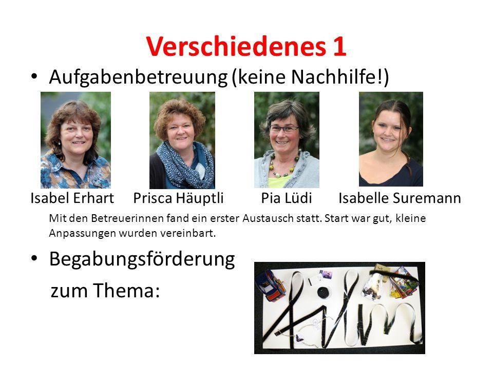 Verschiedenes 1 Aufgabenbetreuung (keine Nachhilfe!) Isabel Erhart Prisca Häuptli Pia Lüdi Isabelle Suremann Mit den Betreuerinnen fand ein erster Aus