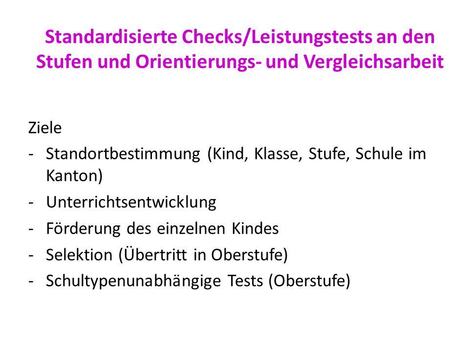 Standardisierte Checks/Leistungstests an den Stufen und Orientierungs- und Vergleichsarbeit Ziele -Standortbestimmung (Kind, Klasse, Stufe, Schule im