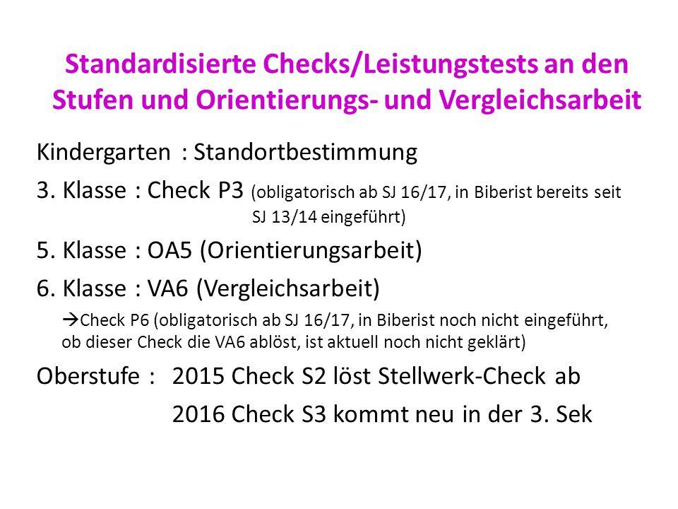 Standardisierte Checks/Leistungstests an den Stufen und Orientierungs- und Vergleichsarbeit Kindergarten : Standortbestimmung 3. Klasse : Check P3 (ob