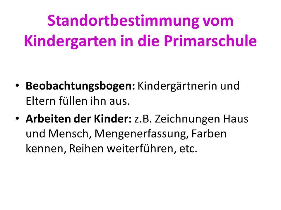 Standortbestimmung vom Kindergarten in die Primarschule Beobachtungsbogen: Kindergärtnerin und Eltern füllen ihn aus. Arbeiten der Kinder: z.B. Zeichn