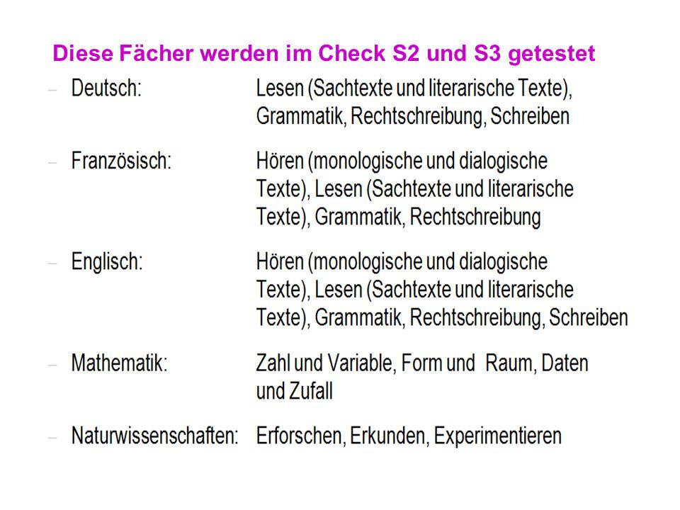 Diese Fächer werden im Check S2 und S3 getestet