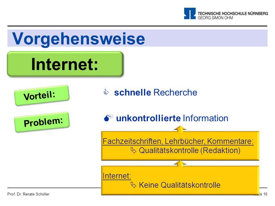 Vorgehensweise Prof. Dr. Renate SchüllerSeite 10 Internet: Problem:  unkontrollierte Information Vorteil:  schnelle Recherche Fachzeitschriften, Leh