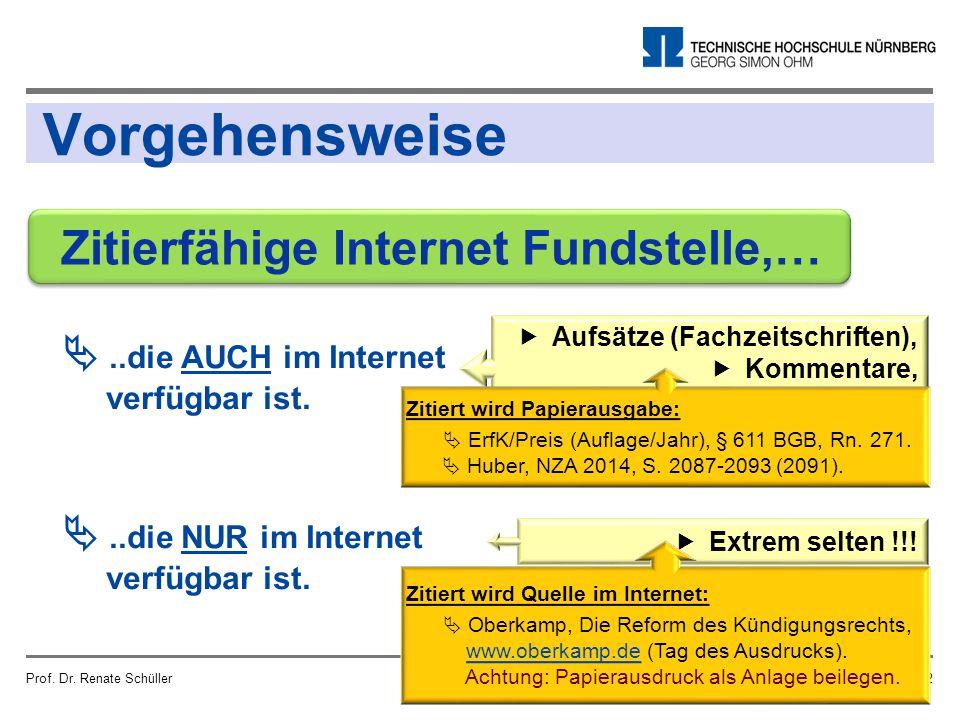 Vorgehensweise Prof. Dr. Renate SchüllerSeite 12 ..die AUCH im Internet verfügbar ist. ..die NUR im Internet verfügbar ist. Zitierfähige Internet Fu