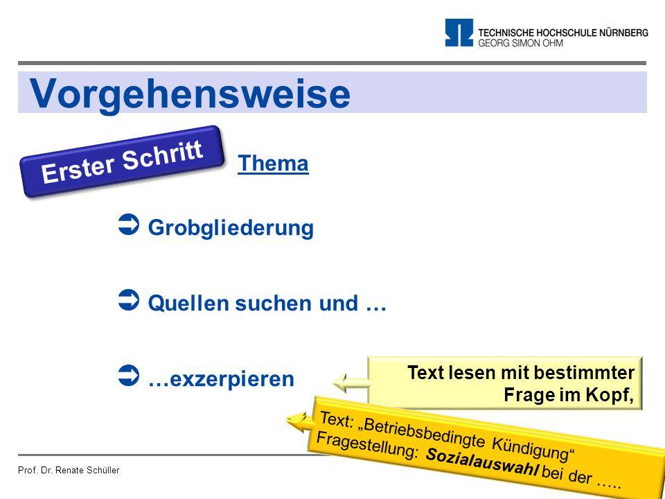 Vorgehensweise Prof. Dr. Renate SchüllerSeite 13 Erster Schritt Thema  Grobgliederung  Quellen suchen und …  …exzerpieren Text lesen mit bestimmter