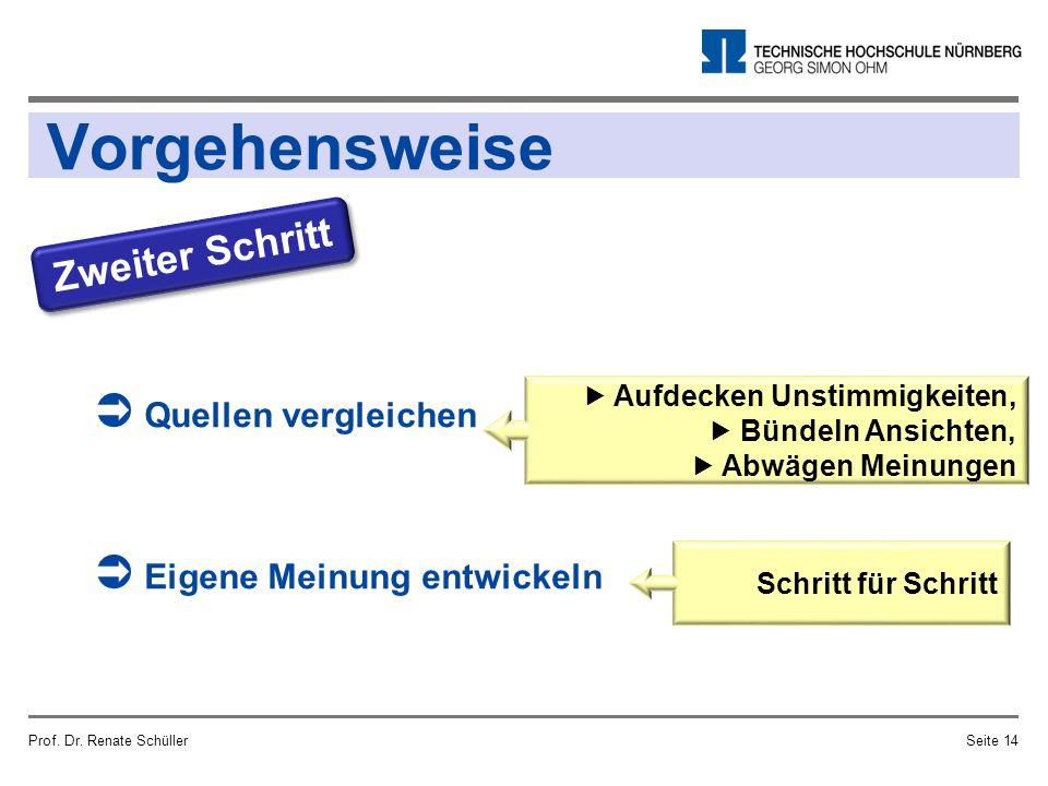 Vorgehensweise Prof. Dr. Renate SchüllerSeite 14 Zweiter Schritt  Quellen vergleichen  Eigene Meinung entwickeln  Aufdecken Unstimmigkeiten,  Bünd