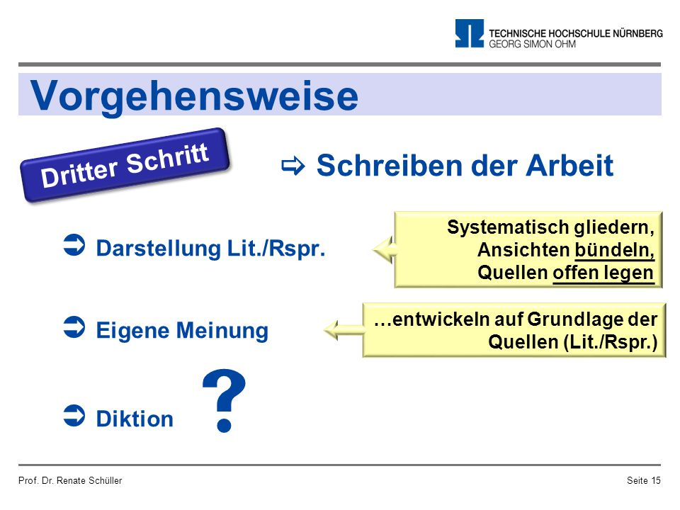 Vorgehensweise Prof. Dr. Renate SchüllerSeite 15 Dritter Schritt  Schreiben der Arbeit  Darstellung Lit./Rspr.  Eigene Meinung  Diktion Systematis