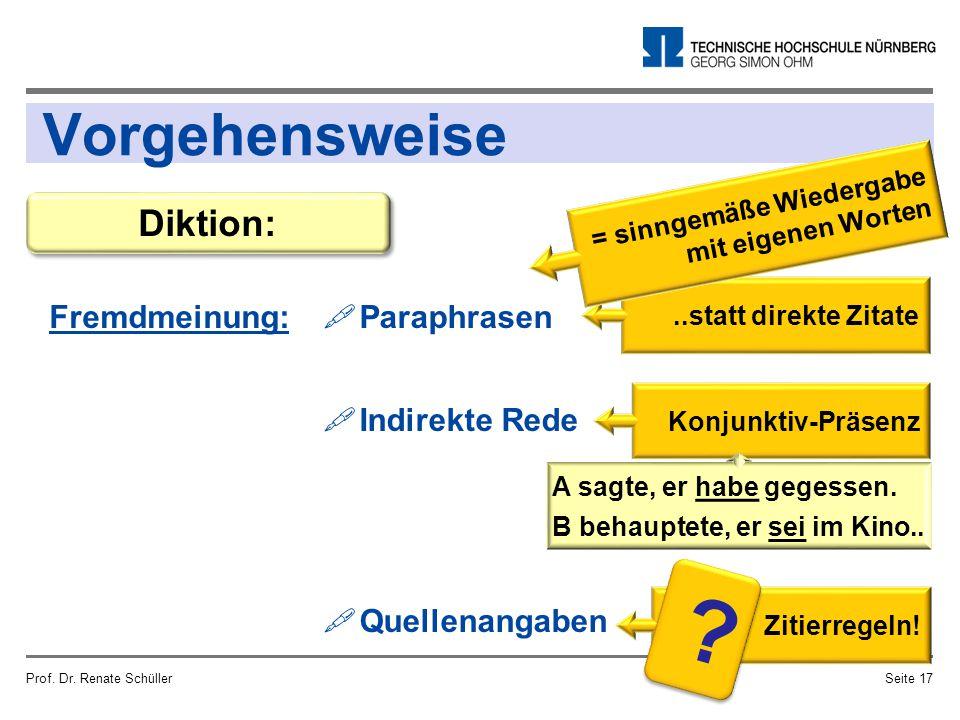 ..statt direkte Zitate Vorgehensweise Fremdmeinung: Prof. Dr. Renate SchüllerSeite 17 Diktion:  Paraphrasen  Indirekte Rede  Quellenangaben Konjunk