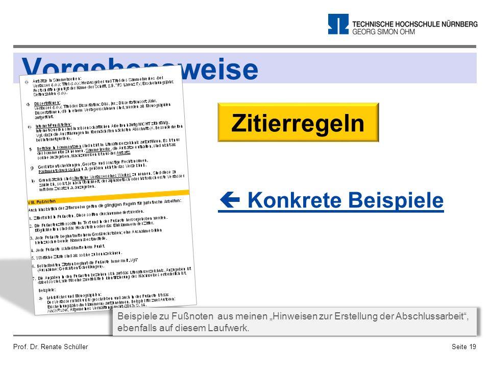 """Vorgehensweise Prof. Dr. Renate SchüllerSeite 19 Zitierregeln  Konkrete Beispiele Beispiele zu Fußnoten aus meinen """"Hinweisen zur Erstellung der Absc"""