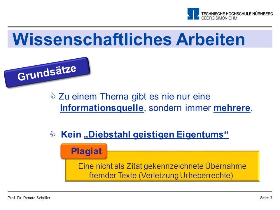 Wissenschaftliches Arbeiten Prof. Dr. Renate SchüllerSeite 3  Zu einem Thema gibt es nie nur eine Informationsquelle, sondern immer mehrere. Grundsät