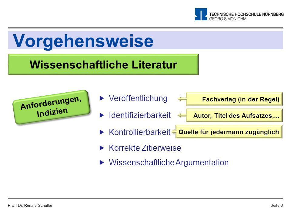 Vorgehensweise Prof. Dr. Renate SchüllerSeite 8 Wissenschaftliche Literatur Anforderungen, Indizien  Veröffentlichung  Identifizierbarkeit  Kontrol