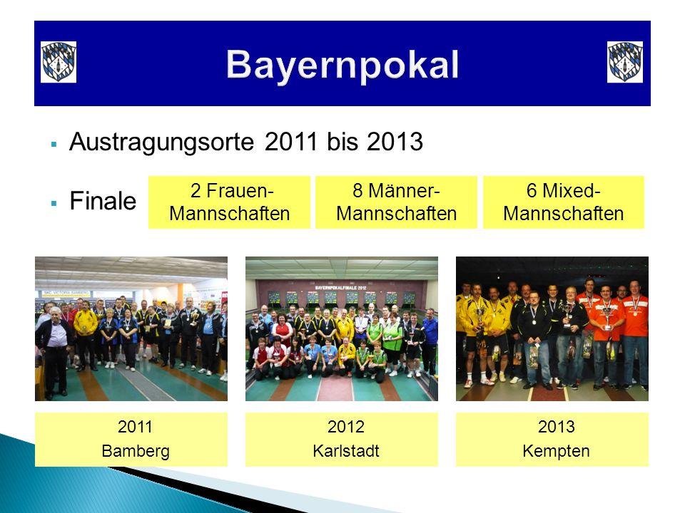  Austragungsorte 2011 bis 2013 2011 Bamberg 2012 Karlstadt 2013 Kempten  Finale 2 Frauen- Mannschaften 8 Männer- Mannschaften 6 Mixed- Mannschaften