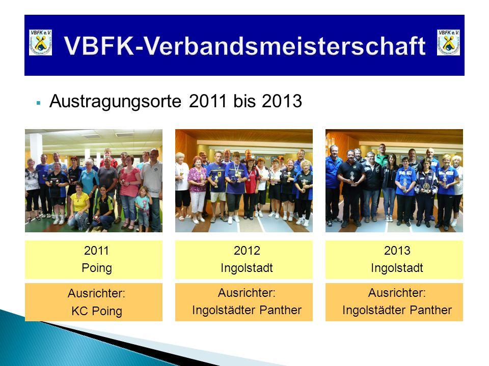  Austragungsorte 2011 bis 2013 2011 Poing 2012 Ingolstadt 2013 Ingolstadt Ausrichter: Ingolstädter Panther Ausrichter: Ingolstädter Panther Ausrichter: KC Poing