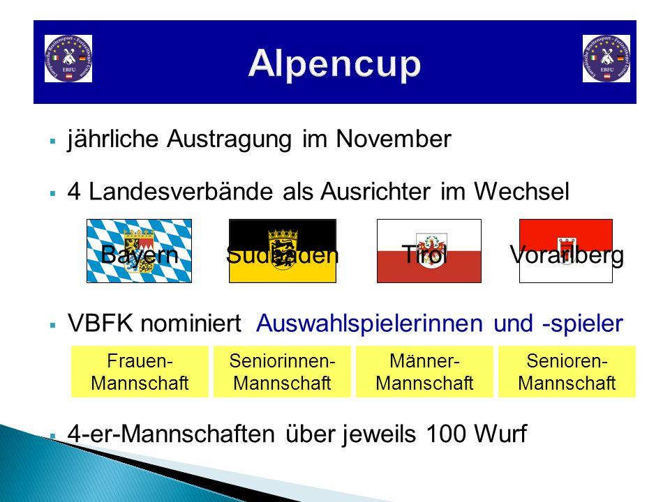  4 Landesverbände als Ausrichter im Wechsel  jährliche Austragung im November  4-er-Mannschaften über jeweils 100 Wurf  VBFK nominiert Auswahlspielerinnen und -spieler Männer- Mannschaft Senioren- Mannschaft Seniorinnen- Mannschaft Frauen- Mannschaft Bayern SüdbadenTirolVorarlberg