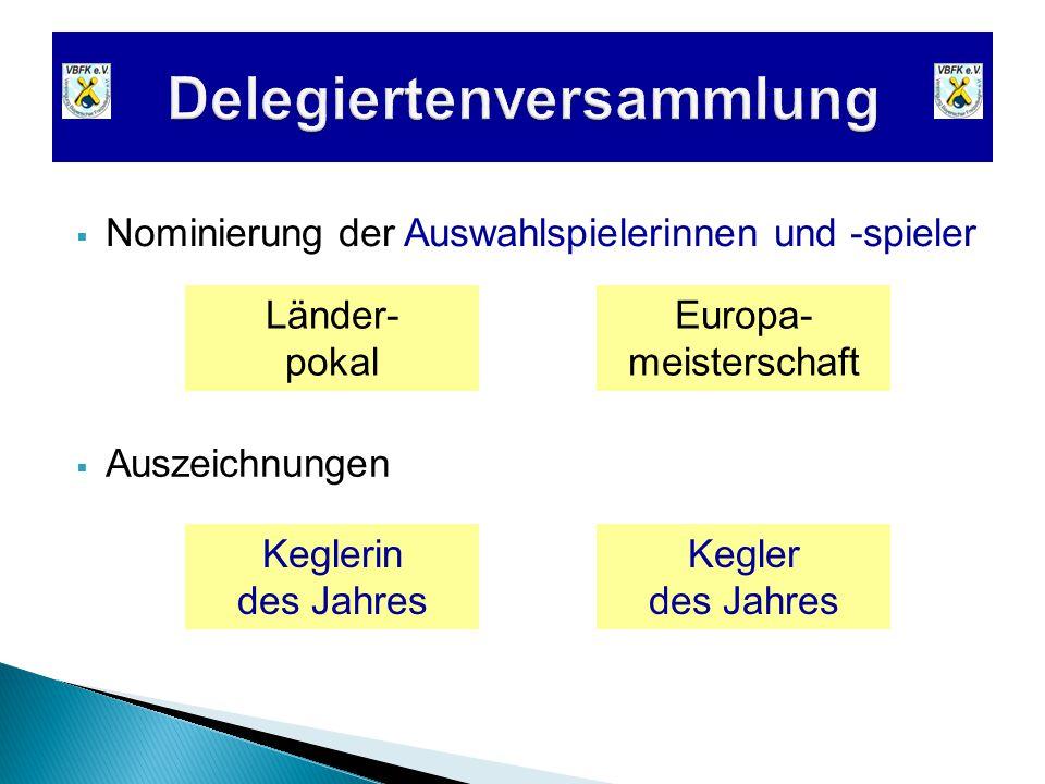  Nominierung der Auswahlspielerinnen und -spieler  Auszeichnungen Keglerin des Jahres Kegler des Jahres Europa- meisterschaft Länder- pokal
