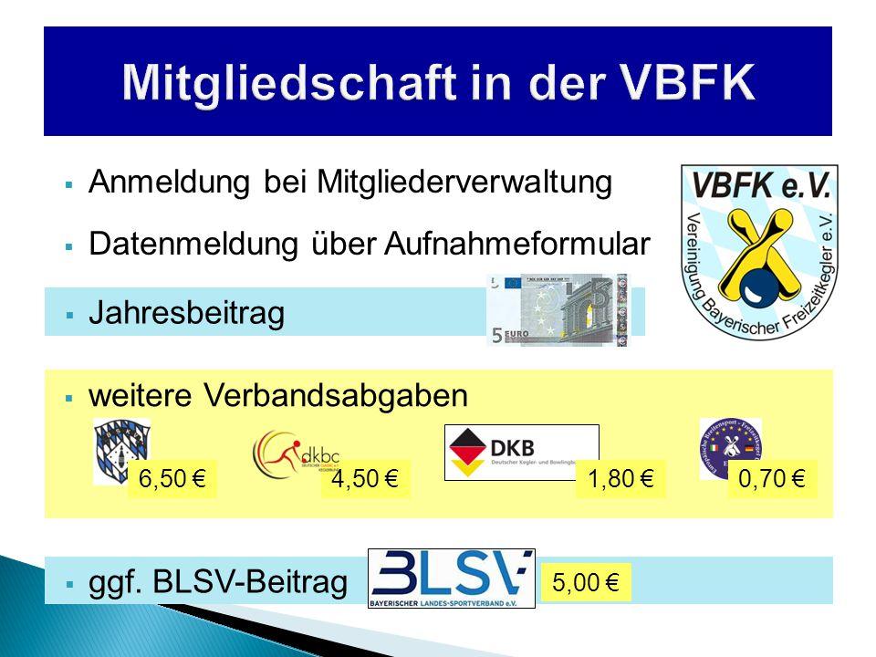  weitere Verbandsabgaben  Anmeldung bei Mitgliederverwaltung  Datenmeldung über Aufnahmeformular  Jahresbeitrag 4,50 €6,50 €0,70 €1,80 €  ggf.