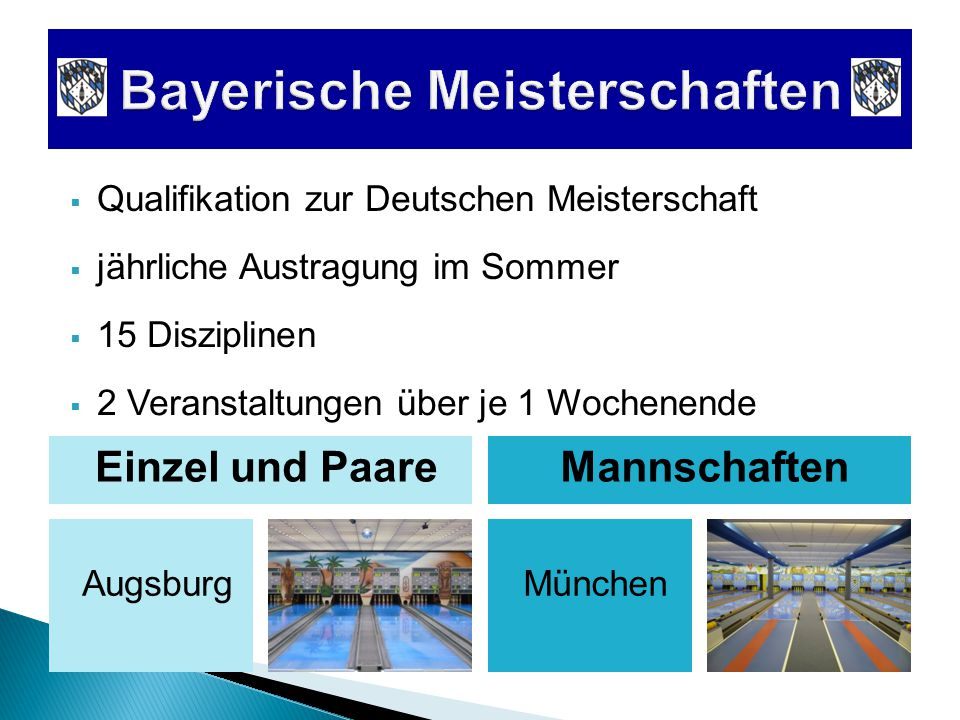  Qualifikation zur Deutschen Meisterschaft Augsburg  jährliche Austragung im Sommer Einzel und PaareMannschaften München  2 Veranstaltungen über je 1 Wochenende  15 Disziplinen