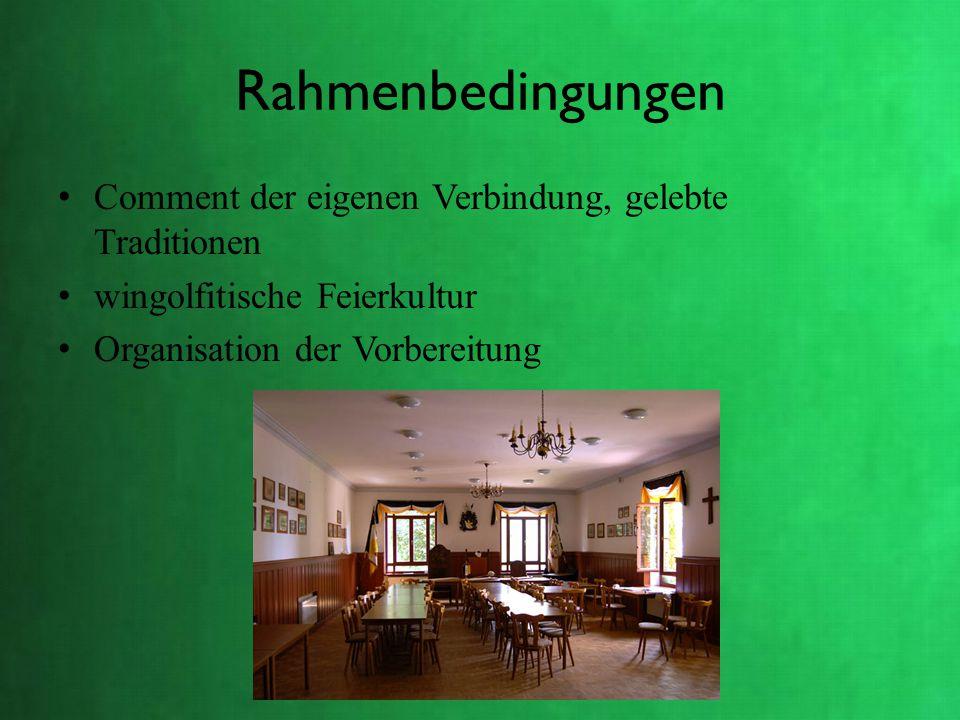 Rahmenbedingungen Comment der eigenen Verbindung, gelebte Traditionen wingolfitische Feierkultur Organisation der Vorbereitung