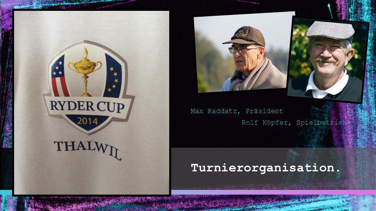 Turnierorganisation. Max Raddatz, Präsident Rolf Köpfer, Spielbetrieb