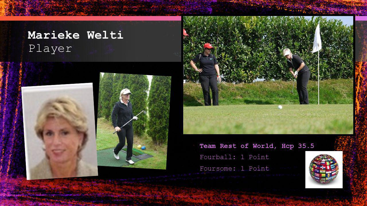 Marieke Welti Player Team Rest of World, Hcp 35.5 Fourball: 1 Point Foursome: 1 Point