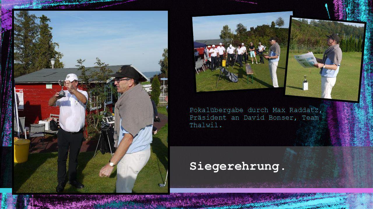 Siegerehrung. Pokalübergabe durch Max Raddatz, Präsident an David Bonser, Team Thalwil.