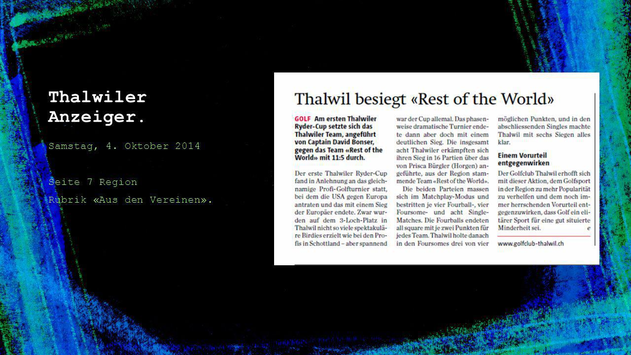Thalwiler Anzeiger. Samstag, 4. Oktober 2014 Seite 7 Region Rubrik «Aus den Vereinen».