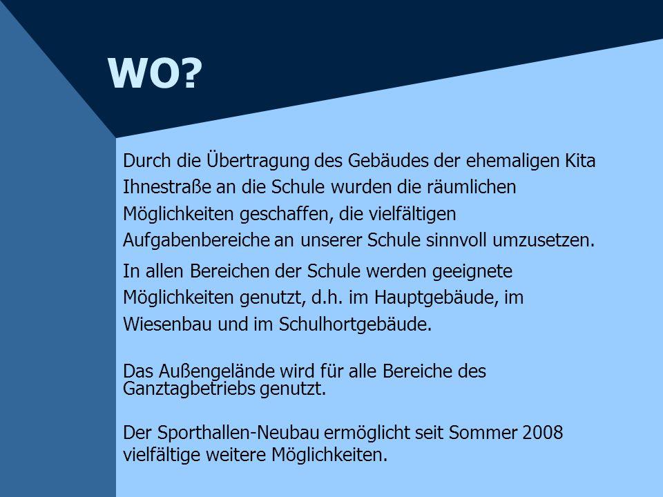 """WER? Die Arbeit des """"Schulhortes"""" und des VHG - Bereiches wird an der Mühlenau- Grundschule im Rahmen eines Kooperationsvertrages von dem Erzieherpers"""