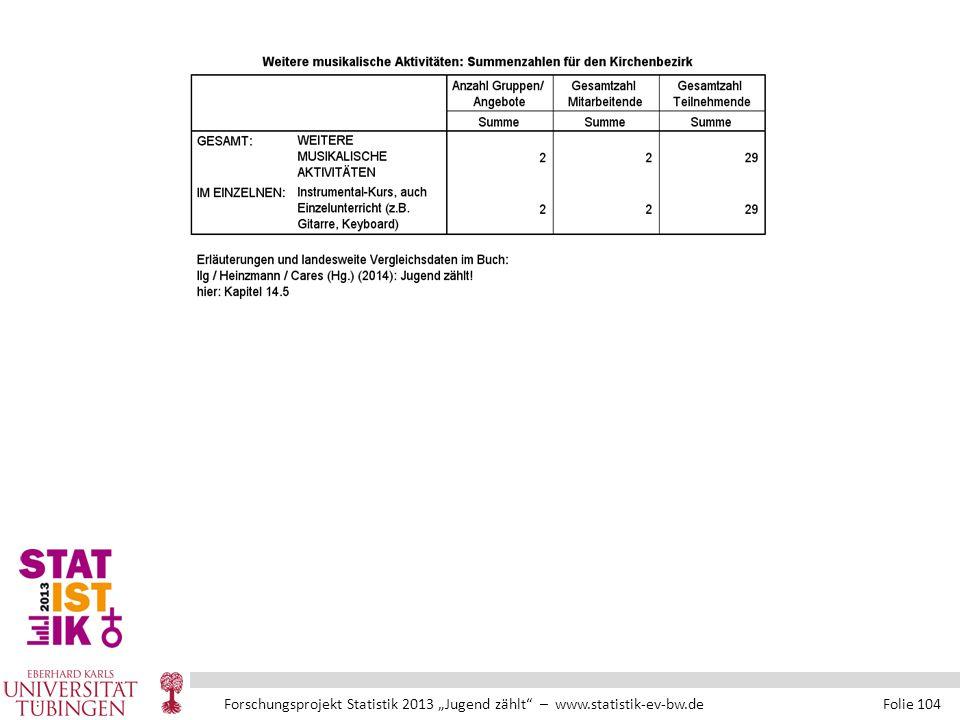 """Forschungsprojekt Statistik 2013 """"Jugend zählt – www.statistik-ev-bw.de Folie 104"""