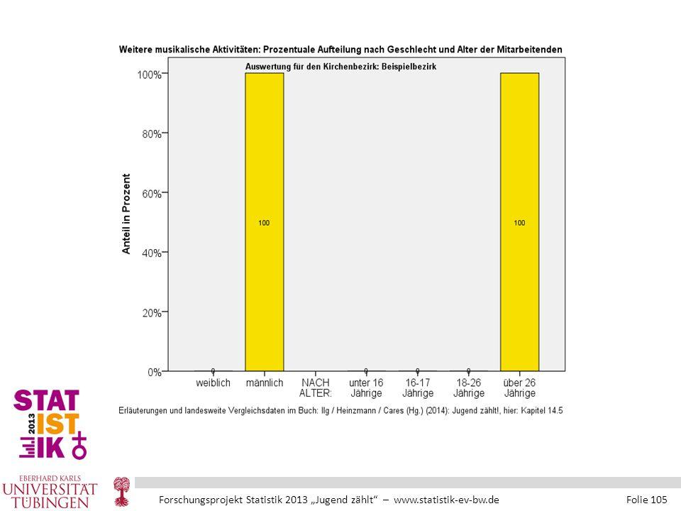 """Forschungsprojekt Statistik 2013 """"Jugend zählt – www.statistik-ev-bw.de Folie 105"""