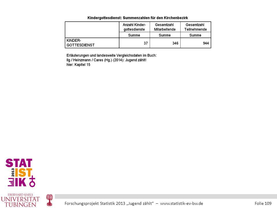 """Forschungsprojekt Statistik 2013 """"Jugend zählt – www.statistik-ev-bw.de Folie 109"""