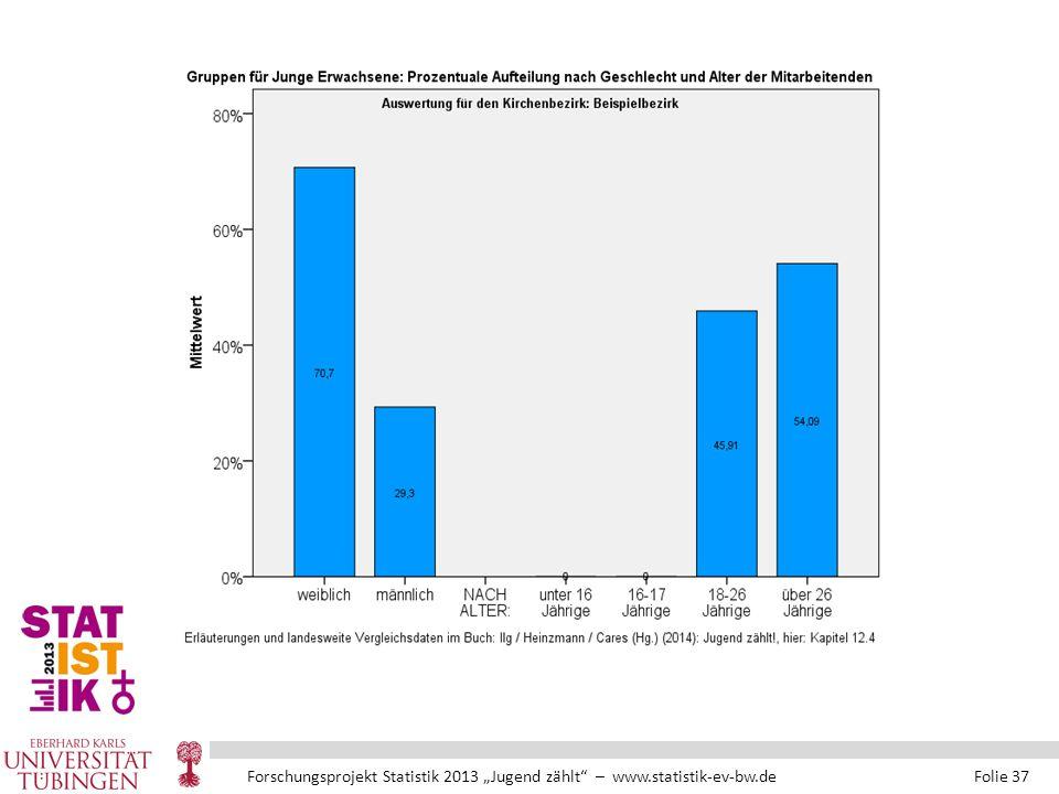 """Forschungsprojekt Statistik 2013 """"Jugend zählt – www.statistik-ev-bw.de Folie 37"""