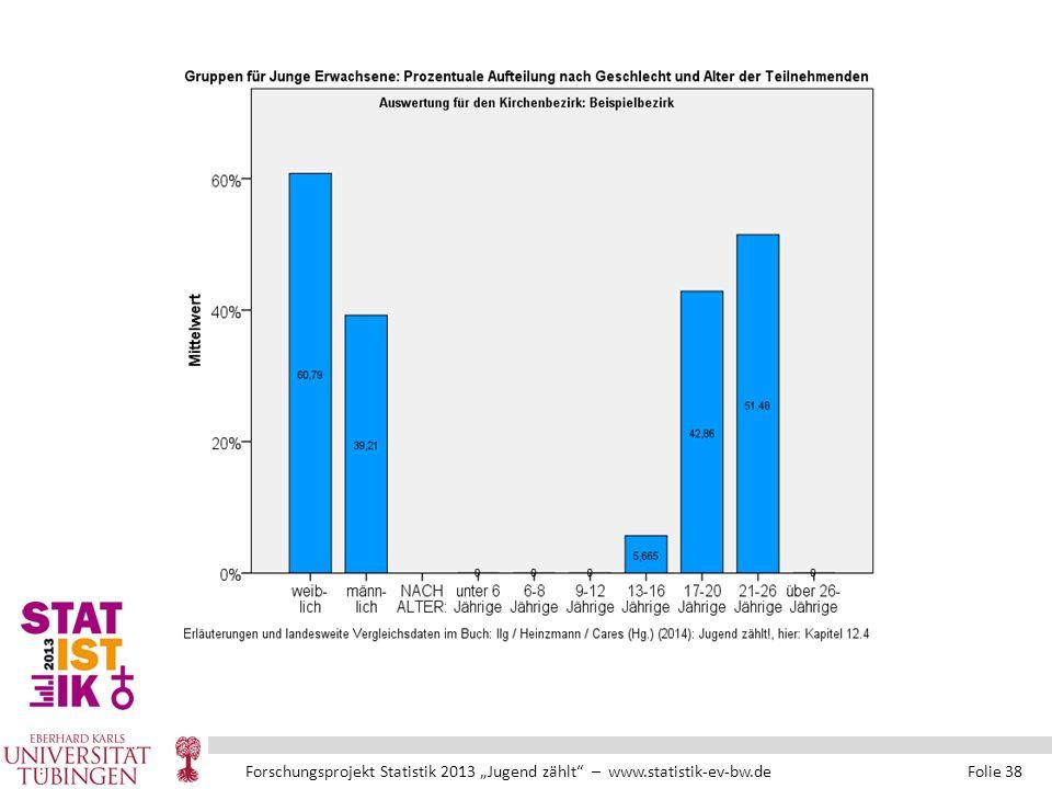 """Forschungsprojekt Statistik 2013 """"Jugend zählt – www.statistik-ev-bw.de Folie 38"""