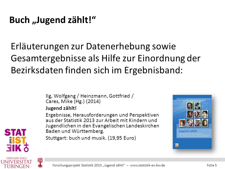 """Forschungsprojekt Statistik 2013 """"Jugend zählt – www.statistik-ev-bw.de Folie 5 Buch """"Jugend zählt! Ilg, Wolfgang / Heinzmann, Gottfried / Cares, Mike (Hg.) (2014) Jugend zählt."""