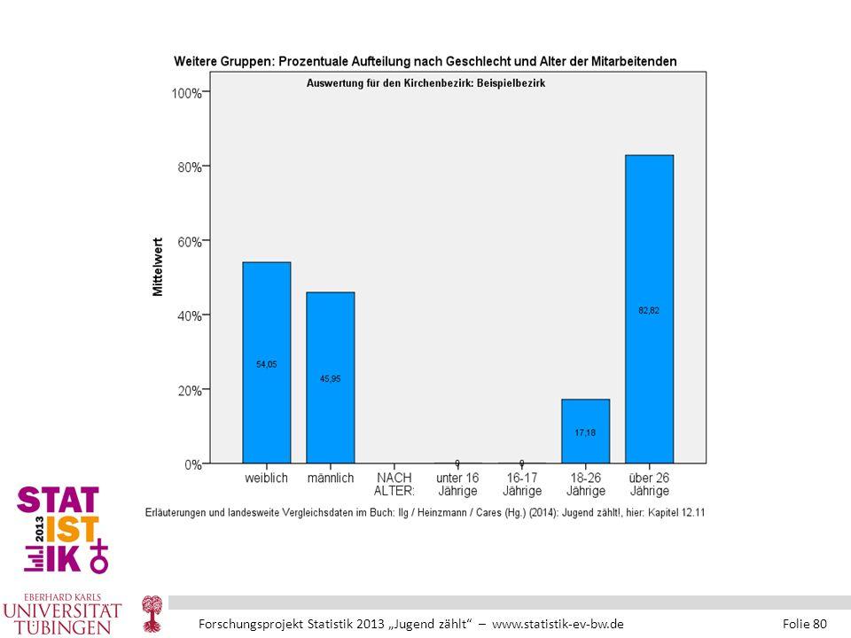 """Forschungsprojekt Statistik 2013 """"Jugend zählt – www.statistik-ev-bw.de Folie 80"""
