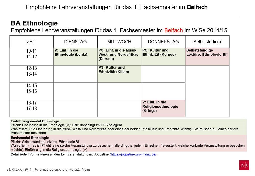21. Oktober 2014 | Johannes Gutenberg-Universität Mainz Empfohlene Lehrveranstaltungen für das 1. Fachsemester im Beifach