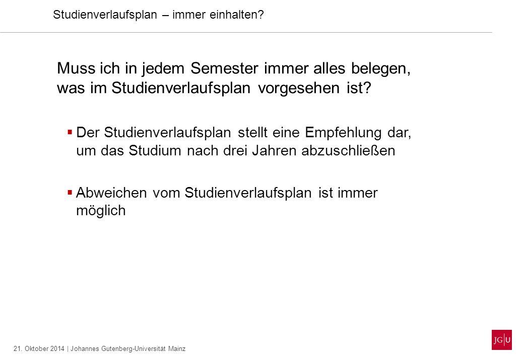 21. Oktober 2014 | Johannes Gutenberg-Universität Mainz Studienverlaufsplan – immer einhalten? Muss ich in jedem Semester immer alles belegen, was im