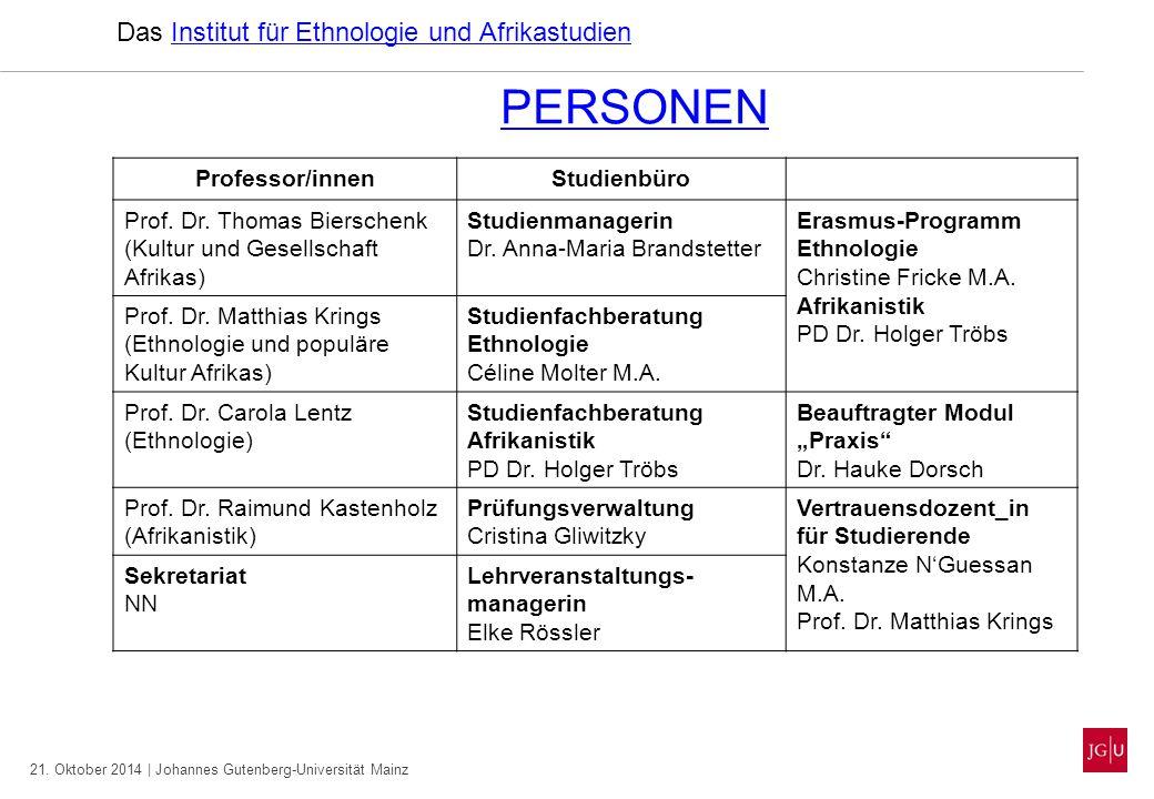 21. Oktober 2014 | Johannes Gutenberg-Universität Mainz PERSONEN Das Institut für Ethnologie und AfrikastudienInstitut für Ethnologie und Afrikastudie