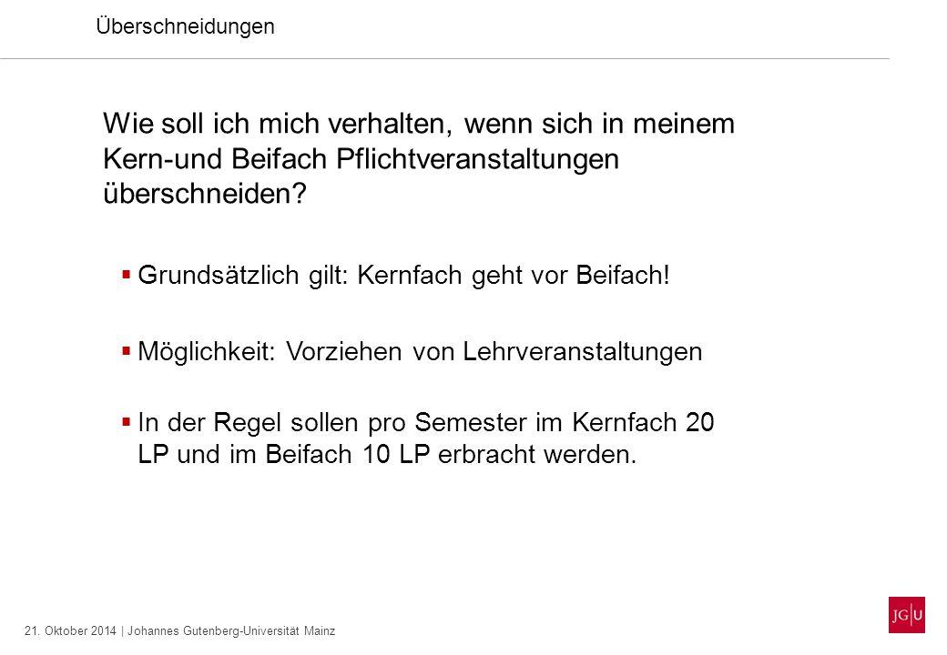 21. Oktober 2014 | Johannes Gutenberg-Universität Mainz Überschneidungen Wie soll ich mich verhalten, wenn sich in meinem Kern-und Beifach Pflichtvera
