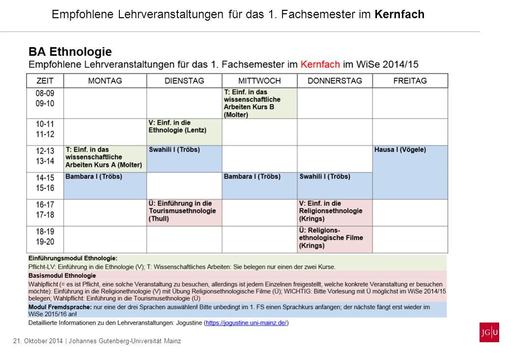 21. Oktober 2014 | Johannes Gutenberg-Universität Mainz Empfohlene Lehrveranstaltungen für das 1. Fachsemester im Kernfach