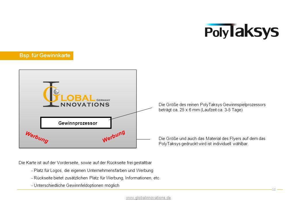 Bsp. für Gewinnkarte 12 Werbung Die Größe des reinen PolyTaksys Gewinnspielprozessors beträgt ca. 25 x 6 mm (Laufzeit ca. 3-5 Tage) Die Größe und auch