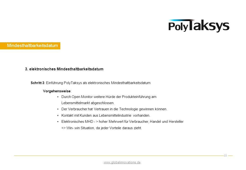 Mindesthaltbarkeitsdatum 23 Schritt 3: Einführung PolyTaksys als elektronisches Mindesthaltbarkeitsdatum Vorgehensweise: Durch Open Monitor weitere Hü