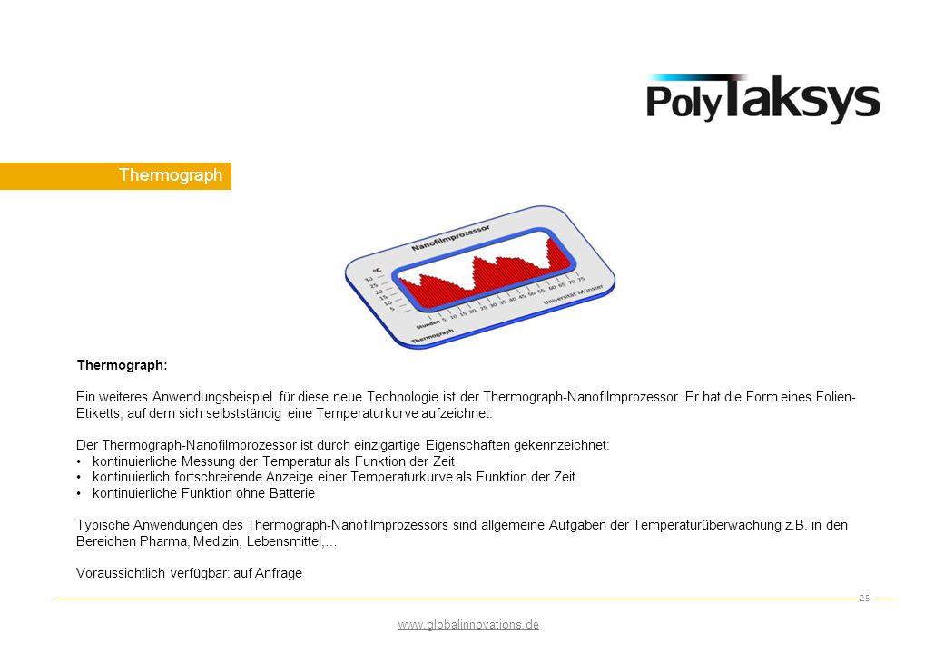 Thermograph 25 www.globalinnovations.de Thermograph: Ein weiteres Anwendungsbeispiel für diese neue Technologie ist der Thermograph-Nanofilmprozessor.