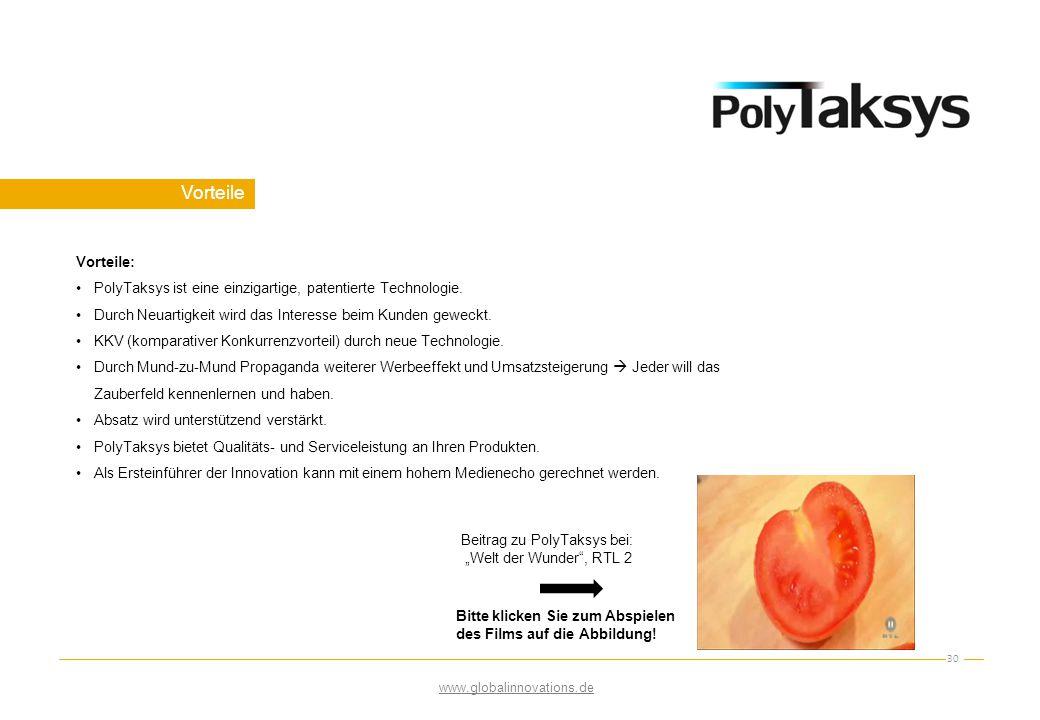 Vorteile 30 Vorteile: PolyTaksys ist eine einzigartige, patentierte Technologie. Durch Neuartigkeit wird das Interesse beim Kunden geweckt. KKV (kompa