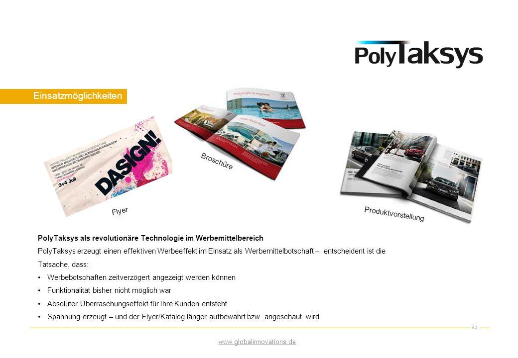 Einsatzmöglichkeiten 32 Flyer Broschüre Produktvorstellung PolyTaksys als revolutionäre Technologie im Werbemittelbereich PolyTaksys erzeugt einen eff