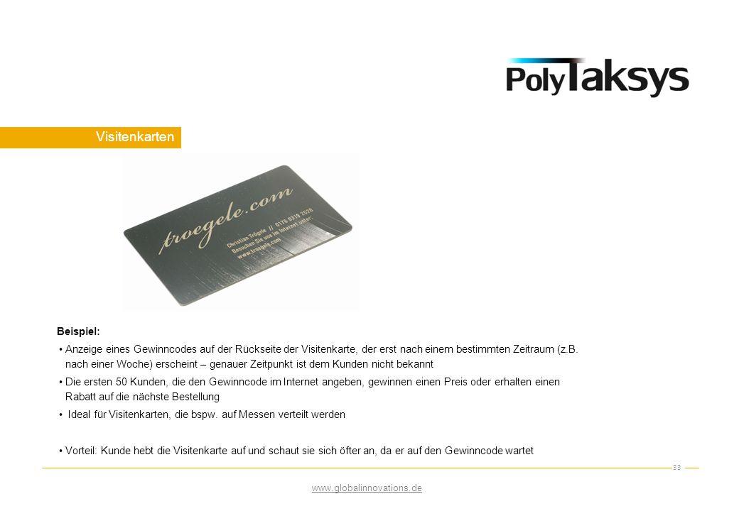 Visitenkarten 33 Beispiel: Anzeige eines Gewinncodes auf der Rückseite der Visitenkarte, der erst nach einem bestimmten Zeitraum (z.B. nach einer Woch