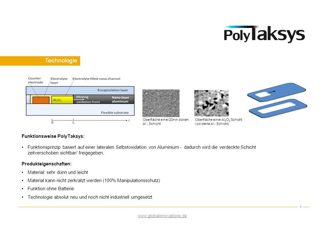 Technologie 4 Oberfläche einer 20nm dicken Al - Schicht Oberfläche einer Al 2 O 3 Schicht (oxidierte Al - Schicht) Funktionsweise PolyTaksys: Funktion