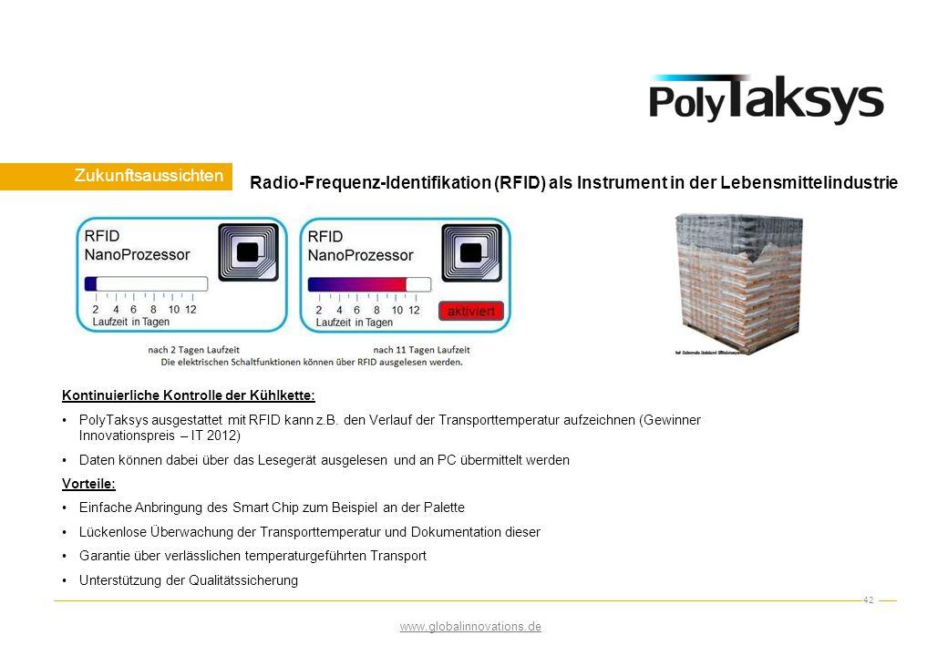 Zukunftsaussichten 42 www.globalinnovations.de Radio-Frequenz-Identifikation (RFID) als Instrument in der Lebensmittelindustrie Kontinuierliche Kontro