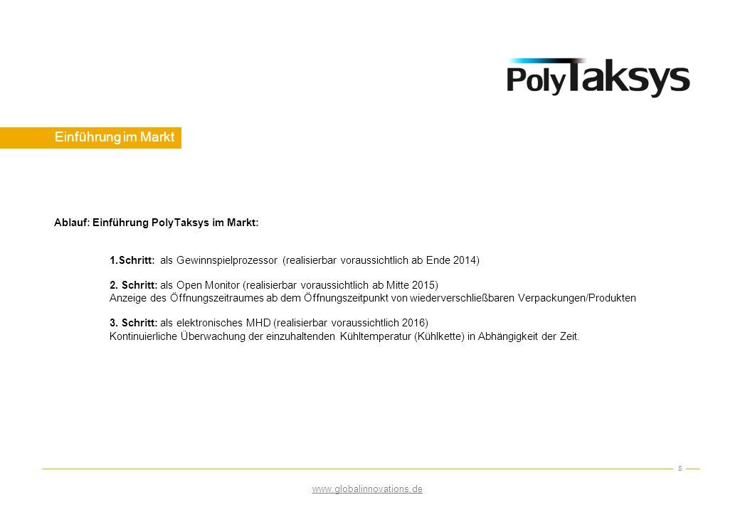 Einführung im Markt 8 Ablauf: Einführung PolyTaksys im Markt: 1.Schritt: als Gewinnspielprozessor (realisierbar voraussichtlich ab Ende 2014) 2. Schri