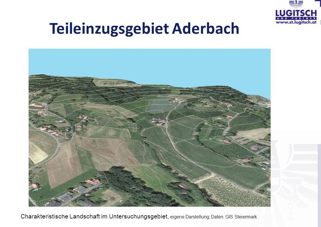 Teileinzugsgebiet Aderbach Charakteristische Landschaft im Untersuchungsgebiet, eigene Darstellung, Daten: GIS Steiermark