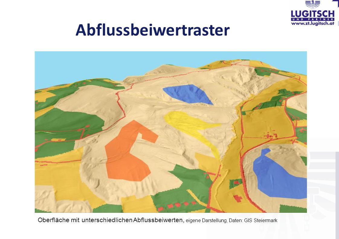 Abflussbeiwertraster Oberfläche mit unterschiedlichen Abflussbeiwerten, eigene Darstellung, Daten: GIS Steiermark