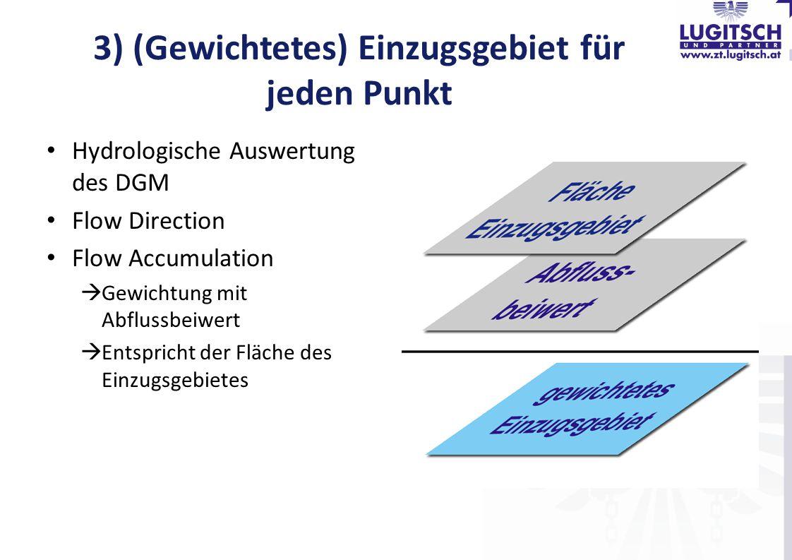 3) (Gewichtetes) Einzugsgebiet für jeden Punkt Hydrologische Auswertung des DGM Flow Direction Flow Accumulation  Gewichtung mit Abflussbeiwert  Ent